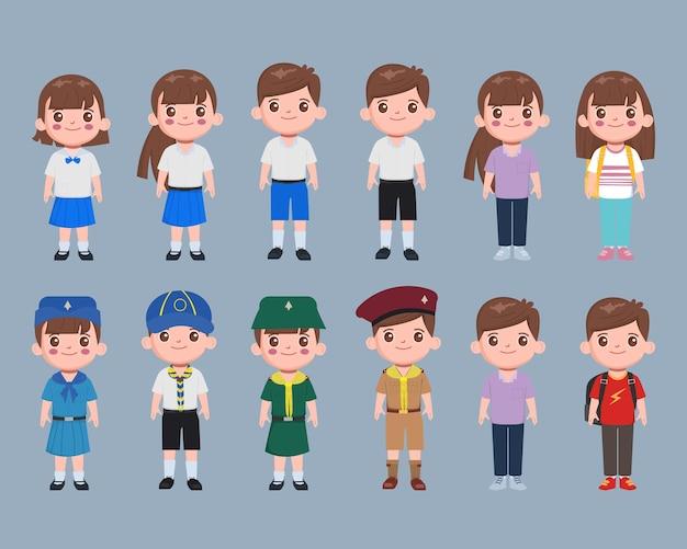 Character student set in school uniform