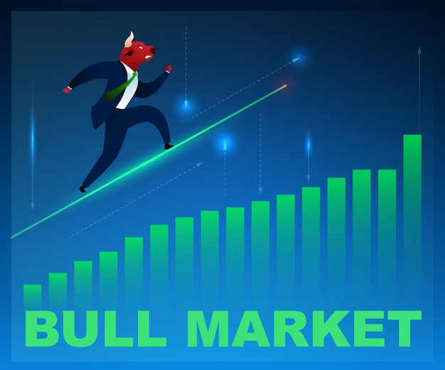 Character trader bull market on graphic diagram up