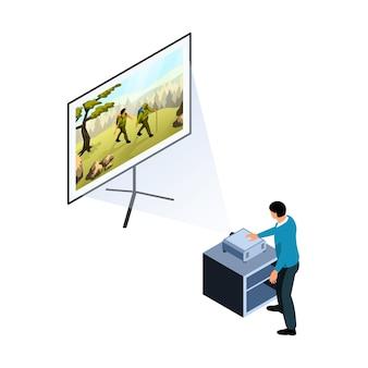 프로젝션 스크린 아이소메트릭에서 영화를 보기 위해 프로젝터를 켜는 캐릭터