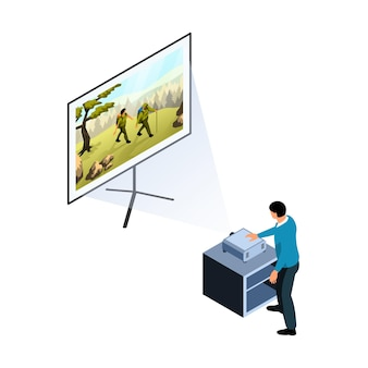 Character turning on projector to watch movie on projection screen isometric