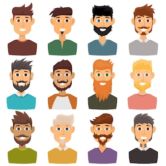 Character of various expressions bearded man face avatar and fashion hipster hairstyle head person with mustache vector illustration.