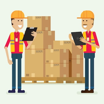 Character warehouse worker checking goods. illustration vector