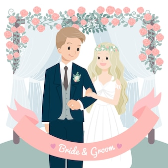 Character wedding couple flowers arch