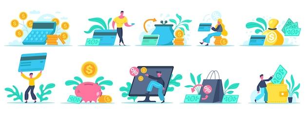 Персонаж с кредитной картой и кошелек с банкнотами