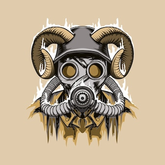 Character with horns and  gas mask