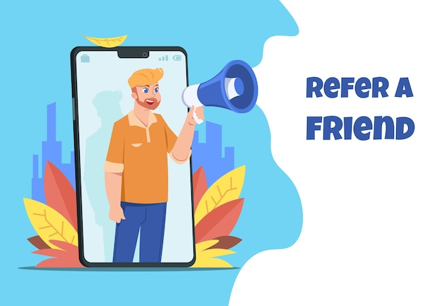 Character with megaphone sharing refer from smartphone