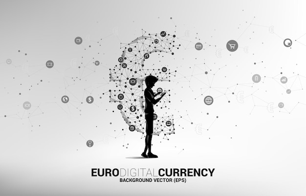 Character with mobile phone and money euro currency icon.