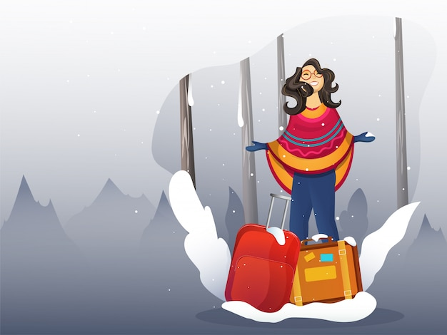 Character with some suitcase on snow