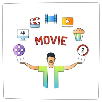 Character with video production cinema movie doodle icon