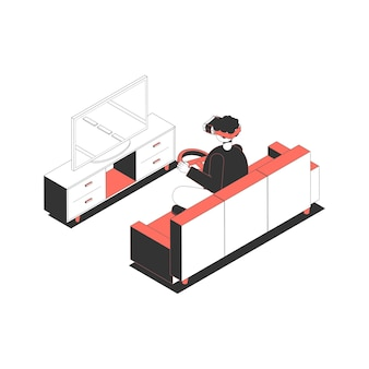 Character with virtual reality glasses and wheel playing race game isometric