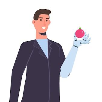 생체 공학 팔 또는 로봇 기계 손을 가진 캐릭터, 보철 개념. 벡터 격리 된 그림