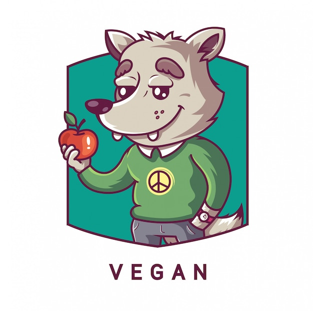 Character wolf holding an apple in his paw. vegetarian character. emblem illustration.