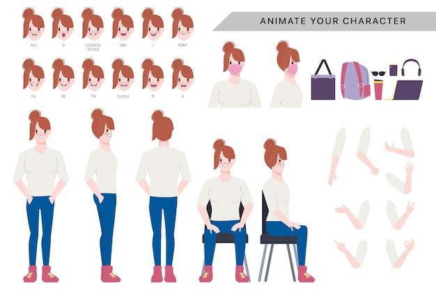 Character for woman character animated with emotions face and animation mouths.