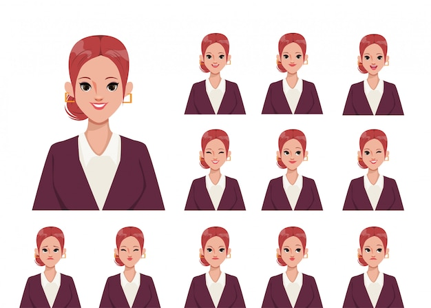 애니메이션 감정 캐릭터 플랫 디자인에 대 한 캐릭터 여자.