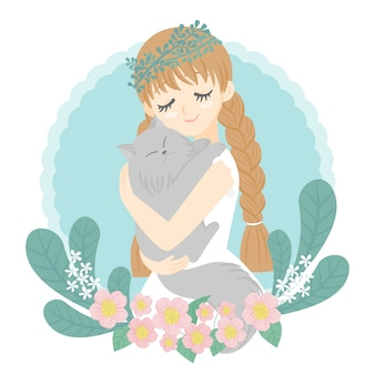 Character woman hugging cat in arm happy face flowers bouquet background