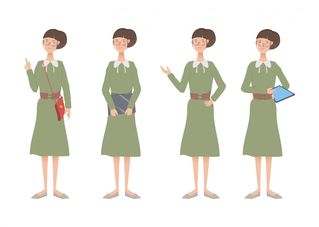 Character of woman lifestyle animation set.