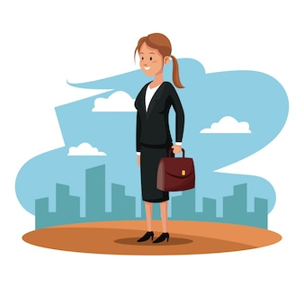 Символ женщина менеджер костюм портфель городской рабочий день