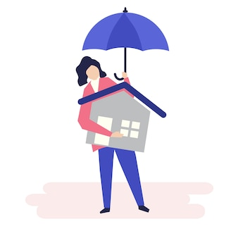 Character of a woman and residential insurance concept