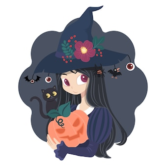 Character woman witch costume with pumkins and black cat