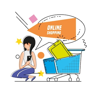 Character woman with shopping online icons