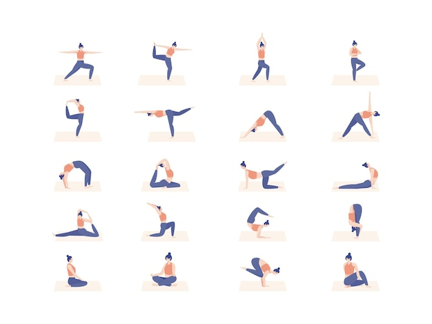 Character of womens set in  yoga pose. illustration