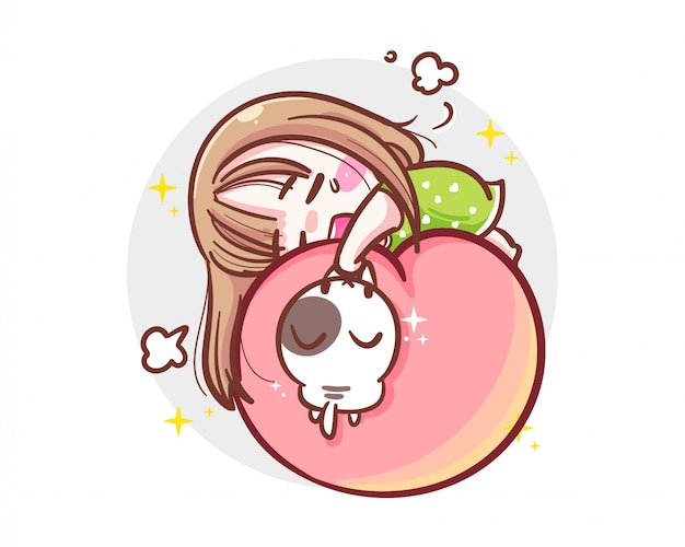 Character of working hard girl sleeping on peach  on white background with exhausted concept.