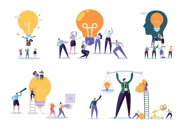 Персонаж работает вместе новый проект. бизнес-концепция векторные иллюстрации, работа в команде помогает достичь идеи, светящаяся лампа накаливания, идея появляется, символ творческого мышления.