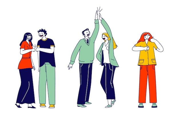キャラクターは賛成と反対。ビジネスディールセレブレーション。ビジネスマンはプロジェクトの開発を祝い、目標を達成します。会社のチームワークコラボレーション、サムダウン。線形の人々のベクトル図