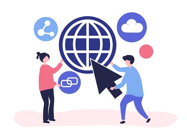 Иллюстрация символов и концепции глобальной коммуникации