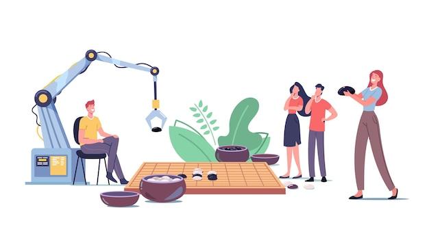 전형적인 코스와 검은색과 흰색 돌로 채워진 두 개의 나무 그릇이 있는 고방 또는 바둑판을 하는 캐릭터와 로봇. 중국어 번체 전략 게임. 만화 사람들 벡터 일러스트 레이 션