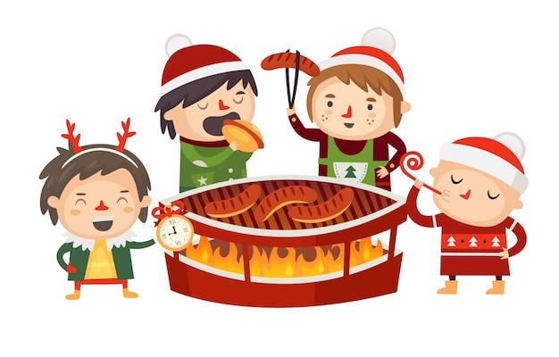 크리스마스 시장의 벽난로에서 캐릭터