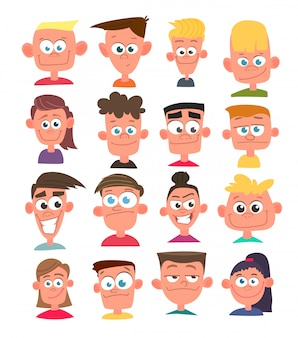 Characters avatars in cartoon  style.