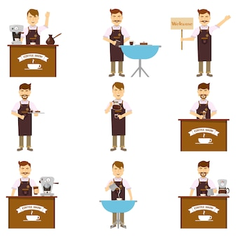 Characters of barista set