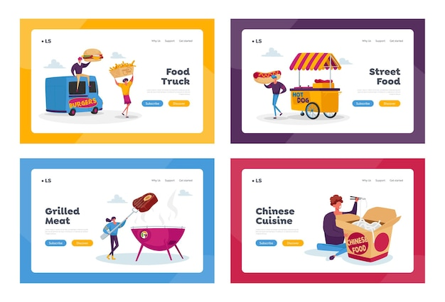 Characters buying street food landing page template set