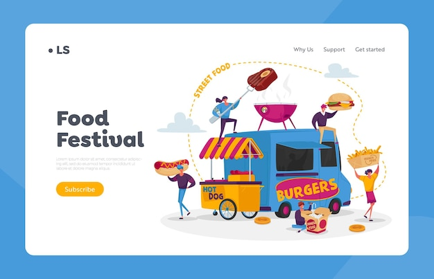 Characters buying street food landing page template