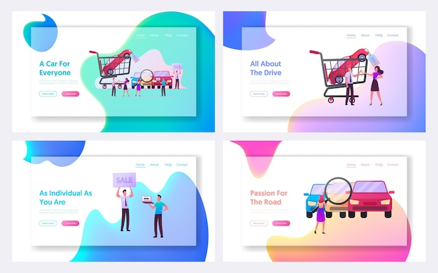 Characters on car market landing page template set. choose and buy automobiles