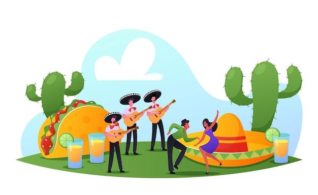 캐릭터들은 cinco de mayo party mexican festival을 축하합니다. 다채로운 전통 의상을 입은 사람들, 기타와 댄서가 있는 마리아치 음악가들이 국경일을 축하합니다. 만화 벡터 일러스트 레이 션