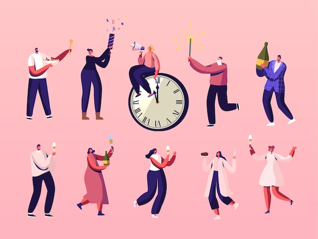 Characters celebrate happy new year having fun, drinking champagne, eating meals and shoot with flappers at at chiming clock