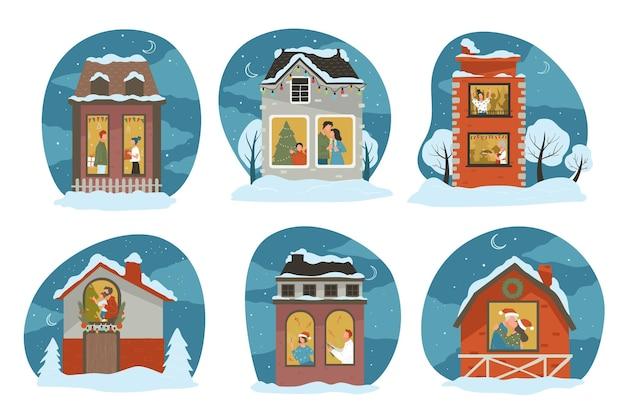 Персонажи празднуют зимние праздники дома, люди с семьей и друзьями