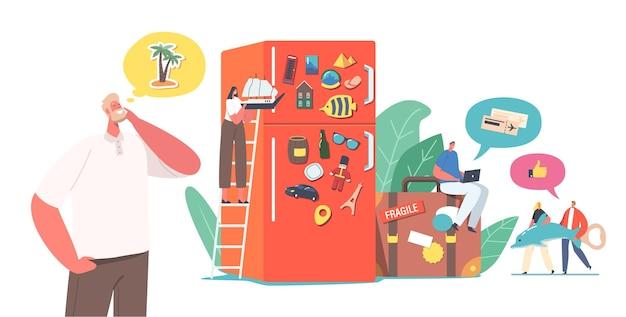 캐릭터는 냉장고 문을 두른 다른 나라를 방문한 후 자석 기념품을 수집합니다. 사람들은 세계 랜드마크를 방문한 후 휴가 여행에서 기억을 저장합니다. 만화 벡터 일러스트 레이 션