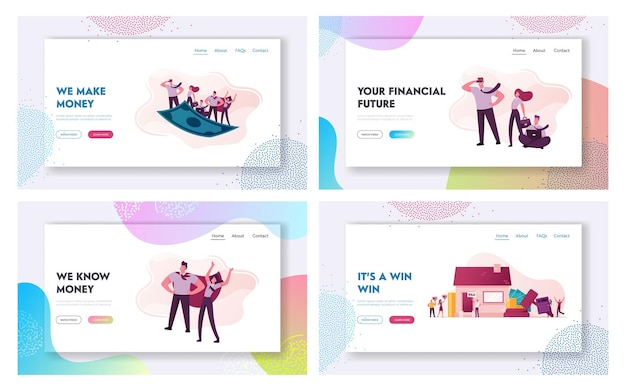 Characters conduct auction and bidding home, flying on dollar bill landing page template set.