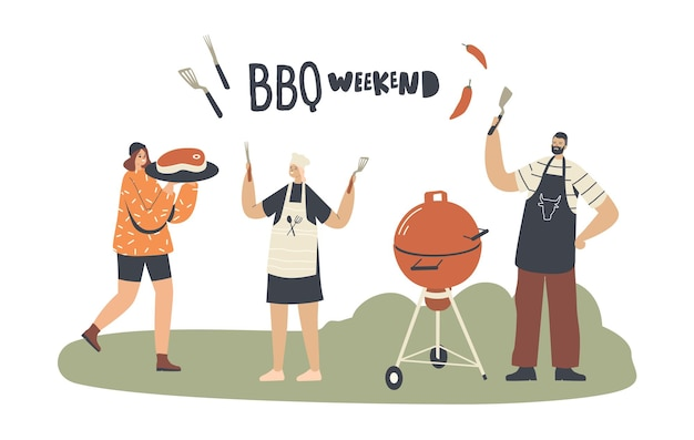 Characters cooking, eating sausages and meat on barbecue machine spend time on outdoor