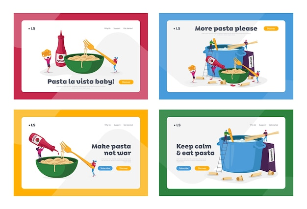 Characters cooking pasta landing page template set