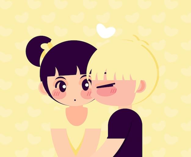 Персонажи пара милый поцелуй