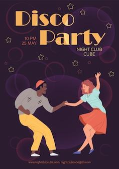 Characters dancing-disco dance party flyer