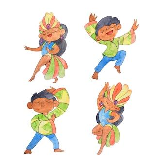 Characters dancing and enjoying brazilian carnival