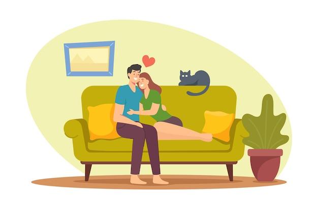Персонажи знакомств, любовь, свободное время концепция досуга. обнять молодых влюбленных, сидя на диване у себя дома. мужчина обнимает женщину на диване в гостиной, романтические отношения. мультфильм люди векторные иллюстрации