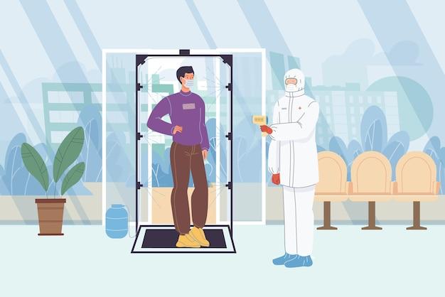 キャラクター-防護服を着た医師が建物の入り口でマスクをした男性の体温を測定します