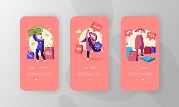 ショッピングモバイルアプリページのオンボード画面セットを行うキャラクター。