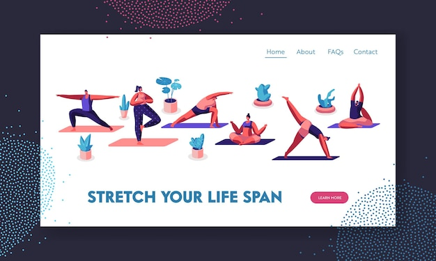 Characters doing yoga practice in different poses. sports activity, exercise, fitness, stretching, healthy lifestyle, leisure. website landing page, web page. cartoon flat vector illustration
